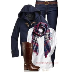 J.crew classic coat, riding boots & scarf, created by steffiestaffie on Polyvore
