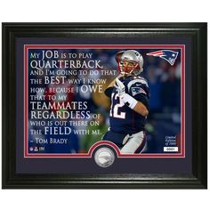 """Tom Brady New England Patriots Highland Mint 13"""" x 16"""" Player Quote Photomint - $49.99"""