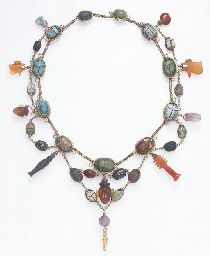 Necklace of ancient Egyptian amulets, Middle Kingdom to Roman period, 2040 B.C.E.-200 C.E. #Amulet #Egypt