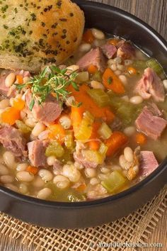 A BEST EVER recipe for Ham and Bean Soup! An all-time favourite recipe for leftover ham, so hearty and delicious. #YummySoup