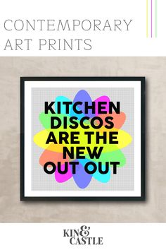 This kitchen disco art print makes a great birthday gift, new parents gift and Christmas gift in lockdown. Add a pop of colour to your kitchen wall decor with this modern kitchen art print. It's the perfect staying in quote! Bring your kitchen decor to life with this colourful wall art print. Hallway Wall Decor, Wall Art Decor, Kitchen Wall Art, Kitchen Decor, Contemporary Art Prints, Colorful Wall Art, Wall Art Designs, Wall Art Prints, Parents