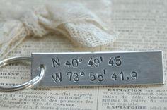 Hand Stamped Longitude Latitude Key Ring  by IJDbyNoelle on Etsy,