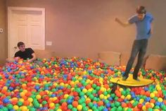 YouTube trickster Roman Atwood has played cruel pranks, sexy pranks and childish pranks over the years, but his latest video might be the most fun prank he's ever pulled off.The American joker transformed his entire house into a multi-coloured ball pit, much to the surprise of his girlfriend Brittney Smith. (The behind-the-scenes video reveals the monumental clean-up was not quite so fun.)Keep watching for more epic room pranks, including a bedroom covered with tinfoil and a room stuffed ...