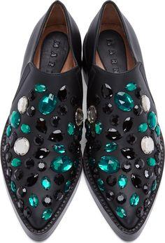 Marni Black & Green Leather Jewelled Flats