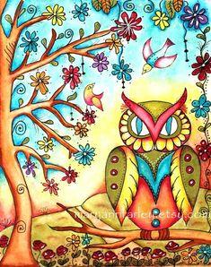 Owl Art Print, Storybook Art Tree, Birds, Folk Art, Whimsical Watercolor, 8 x 10 Original Art Print, Woodland Watercolor. $20.00, via Etsy.