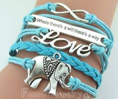 Infinity  Motto Love  Elephants Bracelet by FashionJewelryGift, $4.99 Infinity - Motto -Love - Elephants Bracelet Antique Silver Light blue Wax Cords and Leather Adjustable Weave Bangle Personalized Jewelry