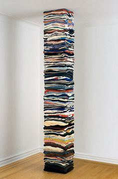 Sculptures made of second-hand clothing, by Derick Melander.