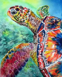 Turtle Print featuring the painting Myrtle The Turtle by Maria Barry