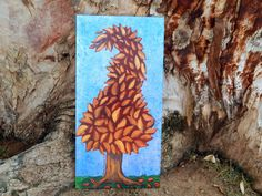 Funky Original Tree Painting  Abstract Original  by HeartsAndKeys, $55.00
