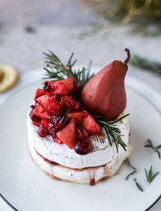 winter fruit stuffed brie with a pinot poached pear I howsweeteats.com