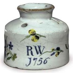An English delft dated ink-pot. This beauty sold for £12,500.