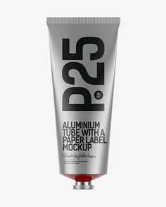 Aluminium Tube with a Paper Label Mockup. Preview