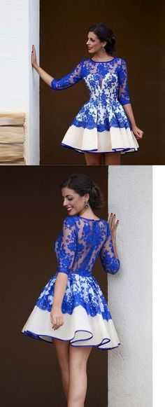 3/4 sleeves lace overlay satin short cocktail dress
