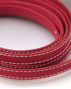 Dark red leather strap 10x2mm- Red flat leather cord Leather string Stitched leather strip 10mm 10 mm Leather string  DIY beading DKRFL10X2 Leather Cord, Leather And Lace, Real Leather, Red Flats, Stitching Leather, Leather Necklace, Dark Red, Take That, Beads