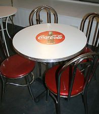 Coca Cola Vintage Bistro Table Four Chairs