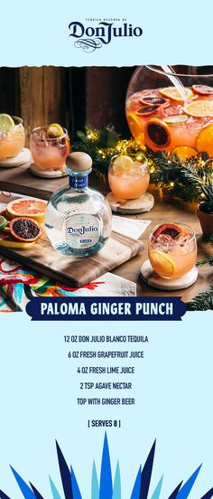 Good tequila is meant to be shared with the ones we love. Celebrate the season with a punch everyone at the Friendsgiving table will enjoy. Combine 12 oz Don Julio Blanco, 6 oz of grapefruit juice…More Summer Drinks, Fun Drinks, Beverages, Agaves, Licor Baileys, Brunch, Alcohol Drink Recipes, Tasty, Yummy Food