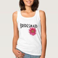 Bridesmaid Pink Gerbera Daisy Wedding Basic Tank Top Tank Tops