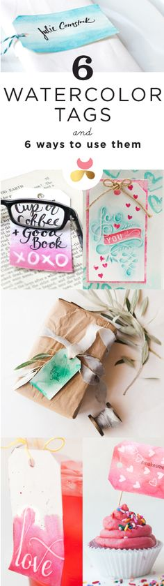Watercolor tags 6 different ways by Julie Comstock for Cosmo Cricket