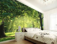free shipping 3d fake windows tree landscape wallpaper mural