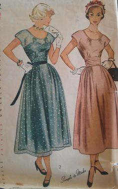 Vintage 50s New Look Cummerbund Cap Sleeve Party Cocktail Frock Dress Sewing Pattern 2872 B31  Well hello dress on the left.