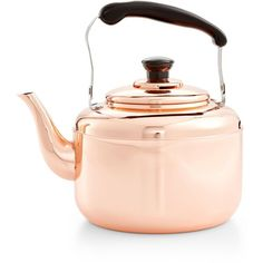 Martha Stewart Collection Heirloom Copper Tea Kettle, (65 CAD) ❤ liked on Polyvore featuring home, kitchen & dining, cookware, copper, martha stewart kettle, vintage tea kettle, martha stewart, copper cookware and copper kettle