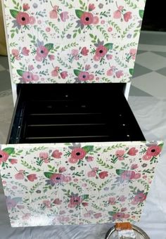 It's super easy to decoupage an old metal file cabinet after you chalk paint the rest! Office Wall Organization, Diy Office Desk, School Office, Office Decor, Metal Cabinets, Filing Cabinets, Diy Cabinets, Repurposed Furniture, Furniture Makeover