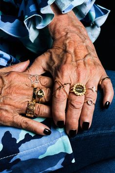 Karen Walker has joined forces, once again, with Advanced Style's Ari Seth Cohen to celebrate the beauty of age. Phyllis Sue, 93, and Roberta Haze, 78, loaned their storied hands to Karen's latest jewelry campaign, styling their own combination of filigree bands and motif and stone rings. As a