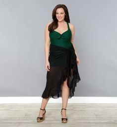 Giselle Ruffle Sarong, Black Noir (Women's Plus Size)