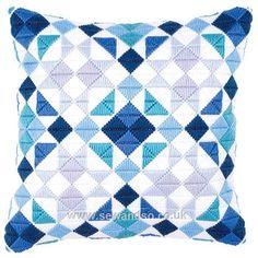 Blue Diamonds Long Stitch Cushion Front