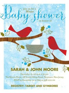Snug Nest - Baby Shower Invitations in a Precious Blue #babyshower
