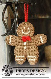 """Natal DROPS : Boneco biscoito de gengibre DROPS crochetado com 2 fios """"Safran"""". ~ DROPS Design"""