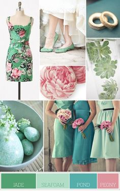 Mint, pink and teal  Can I get married all over again?! lol
