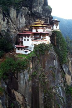 Paro Taktsang (monastery), or The Tiger's Nest. Upper Paro valley, Bhutan
