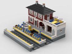 Lego Train Station, Lego Trains, Cool Lego, Lego Building, Lego City, Laundry Room, Studio, Gallery, Awesome