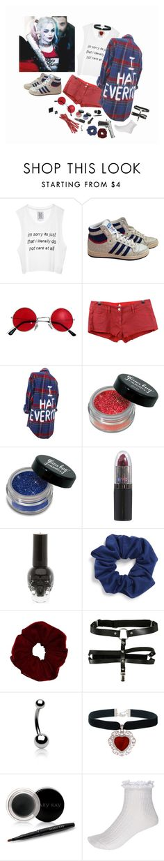 """""""{ daddy's little monster } harley quinn    suicidal squad - inspired HALLØWEEN SPECIAL"""" by little-eleanor-directioner ❤ liked on Polyvore featuring adidas, Étoile Isabel Marant, Natasha Couture, Bling Jewelry, Mary Kay and River Island"""