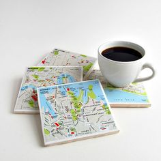 Australia Map Coasters crafted from a 2000 Collins Atlas and reclaimed ceramic tiles / $36 set of four by salvagedstudiomke on Etsy / Sydney / Melbourne / Brisbane / Perth / gifts under $50 / handcrafted gifts / artisan made gifts / Australian gift ideas / Australia travel memento / travel themed gift ideas / anniversary gift for husband / Christmas gift for parents Melbourne Map, Sydney Map, Perth, Brisbane, Map Wrapping Paper, Retirement Gifts For Men, Map Coasters, Christmas Gifts For Parents, Australian Gifts