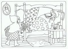 schrijf er een verhaaltje bij Little Red Riding, Little Red Ridding Hood, Red Riding Hood, Kindergarten, Color Stories, Learn To Read, Words Quotes, Little Ones, Playroom