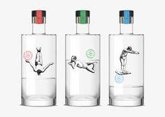 """DasGrafikdesignstudioDorianaus Barcelona wurde beauftragt, die Optik der Gin-Flaschen von""""Rawal"""" zu kreieren. Der Suffstammt von einer kleiner Bar namens """"Pesca Salada"""" und die Inhaberwünschten sich ein besonders einprägsames Design,dass sich von de"""