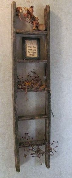 Old ladder. Been hauling a big old ladder like this around for years… Country Wall Decor, Prim Decor, Country Crafts, Rustic Decor, Farmhouse Decor, Primitive Wall Decor, Old Wood Projects, Home Projects, Primitive Crafts