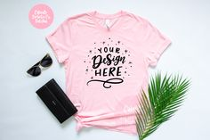 Bella Canvas 3001 Pink Unisex T-Shirt Mockup - Spring Styled Photography for iPad Lettering and SVG Files Prop Styling, Flatlay Styling, Shirt Mockup, Bella Canvas, As You Like, Hand Lettering, Spring Fashion, Fashion Photography, My Etsy Shop