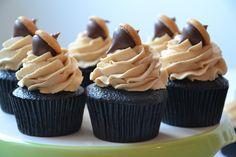 Chocolate Cupcake. Peanut Butter Buttercream. Hershey Kiss. Mini-Nilla Wafer. Autumn is here!