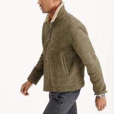 Shearling bomber jacket : leather | J.Crew