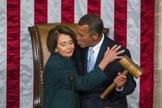 Former Republican Speaker of the House John Boehner kisses Democratic House minority leader Nancy Pelosi after Boehner was re-elected as Speaker of the House on the floor of the House of Representatives in the U.S. Capitol in Washington, D.C. Jan. 6, 2015.