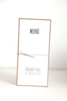10 Menükarten Hochzeit - DIY Kit - Hannah&Paul