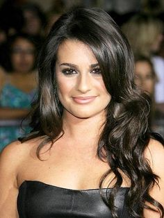 Lea Michele Black Lace Front Long Wavy Human Wigs at nextwigs.com #Human hair wigs#