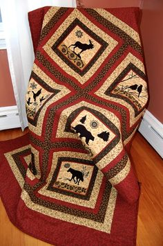 North Woods Quilt, Cabin Decor, Bear, Wolf, Moose - I did this quilt in black, but love it in reds!