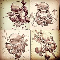 Some turtle commissions from the summer. #teenagemutantninjaturtles #commission by dereklaufman