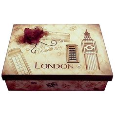 Caixa de bijouteria, toda trabalhada em tema de Londres.