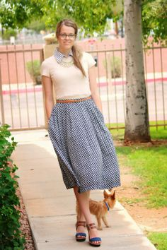 Goodwill skirt and dickie-collar layered under a Gap top  with my favorite Target wedges at The House of Shoes.