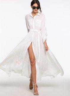 Dress - $63.99 - Solid Pockets Collar Long Sleeve Maxi Dress (01955219946)